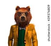 portrait of bear hipster in... | Shutterstock . vector #439376809