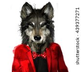 hipster wolf in a jacket  hand... | Shutterstock . vector #439377271
