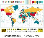 world map and nuclear power... | Shutterstock .eps vector #439382791