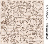 burlap texture old farm fruits... | Shutterstock .eps vector #439390171