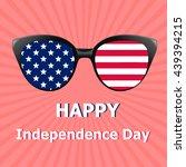 glasses with usa flag  stars... | Shutterstock .eps vector #439394215