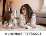 mother and daughter relaxing... | Shutterstock . vector #439402075