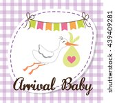 baby shower. stork. pastel... | Shutterstock .eps vector #439409281