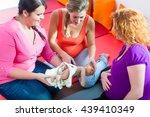 midwife explaining birth... | Shutterstock . vector #439410349