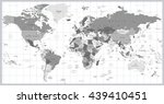 grayscale world map detailed... | Shutterstock .eps vector #439410451
