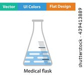 medical flask icon. flat color...