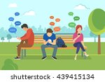 young people sitting in the... | Shutterstock .eps vector #439415134