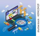 flat 3d laptop  smart watches... | Shutterstock .eps vector #439415419