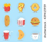 set of cute cartoon fast food... | Shutterstock .eps vector #439415959
