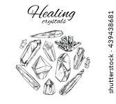 healing crystals. vector hand... | Shutterstock .eps vector #439438681
