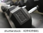 sports metal dumbbell in gym... | Shutterstock . vector #439439881
