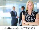 business woman standing in... | Shutterstock . vector #439453519