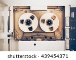 rewinding of vintage audio tape ... | Shutterstock . vector #439454371