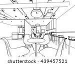 interior outline sketch drawing ... | Shutterstock .eps vector #439457521