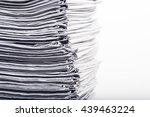 closeup of stack of newspapers | Shutterstock . vector #439463224
