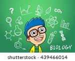 school boy write chemistry... | Shutterstock .eps vector #439466014