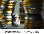 bride and groom walking on the... | Shutterstock . vector #439470409