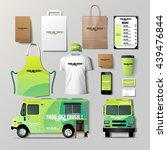 vector food truck corporate... | Shutterstock .eps vector #439476844
