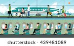 people come to the airport with ... | Shutterstock .eps vector #439481089