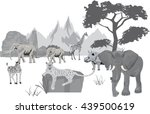 african landscape animals | Shutterstock .eps vector #439500619