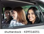 teenagers riding in car | Shutterstock . vector #439516051