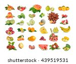 callection of fruits on a white ... | Shutterstock . vector #439519531