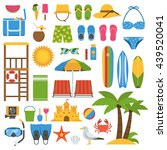 summer beach items collection.... | Shutterstock .eps vector #439520041