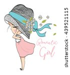 girl with hat and flowers | Shutterstock .eps vector #439521115