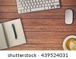 office table with notepad ... | Shutterstock . vector #439524031