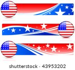 american flag button with... | Shutterstock .eps vector #43953202