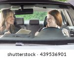 teenager in car with driving... | Shutterstock . vector #439536901