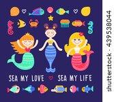 vector set of sea life. mermaid ... | Shutterstock .eps vector #439538044