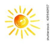 watercolor the sun on a white... | Shutterstock . vector #439540957