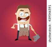 psychopath with bloody hatchet... | Shutterstock .eps vector #439546591
