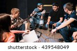 music band discussing drummers... | Shutterstock . vector #439548049
