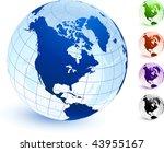 multi colored globe set... | Shutterstock .eps vector #43955167