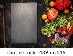 wooden spoon and ingredients on ... | Shutterstock . vector #439555519