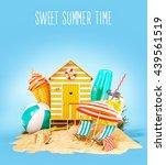 colorful retro beach hut  ...   Shutterstock . vector #439561519