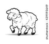 happy lamb looking forward in... | Shutterstock .eps vector #439593649