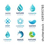set of water  wave and drop... | Shutterstock .eps vector #439595785