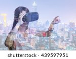 double exposure of woman using... | Shutterstock . vector #439597951
