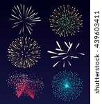 set of fireworks. vector... | Shutterstock .eps vector #439603411