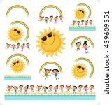 happy children with the sun  a... | Shutterstock .eps vector #439609351