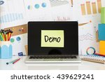 demo sticky note pasted on the ... | Shutterstock . vector #439629241