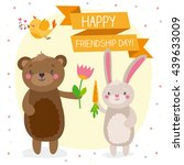 cute bear and rabbit enjoying... | Shutterstock .eps vector #439633009