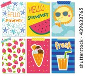 cute set with summer cards | Shutterstock .eps vector #439633765