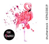 pink flamingo  watercolor... | Shutterstock .eps vector #439633819