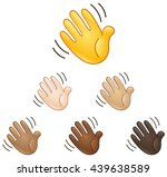 waving hand sign emoji set of... | Shutterstock .eps vector #439638589