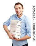 Happy student standing with books. Isolated on white. - stock photo