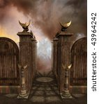 Fantasy Temple Gate With Moon...